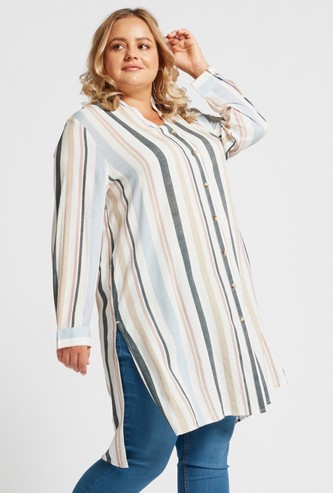 Striped Tunic Shirt with V-neck and Long Sleeves