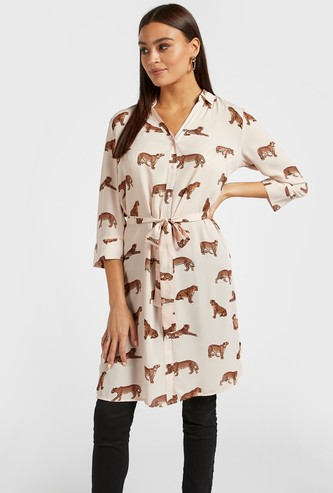 All-Over Print Tunic Shirt with Spread Collar and 3/4 Sleeves