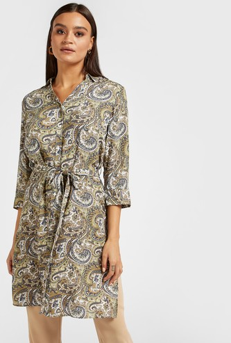 Printed Tunic Shirt with 3/4 Sleeves and Tie-Ups
