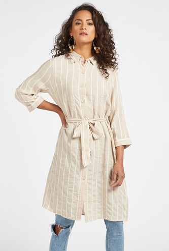 Striped Knee Length Tunic with 3/4 Sleeves and Tie-Up Waist Belt