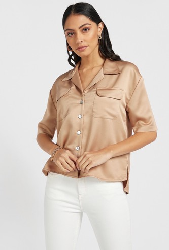 Solid Collared Shirt with Short Sleeves and Flap Pockets