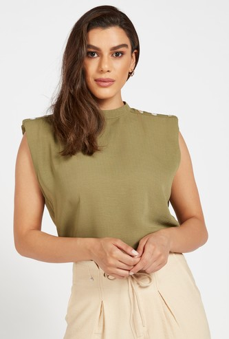 Solid Broad Shoulder Sleeveless Top with Button Accents