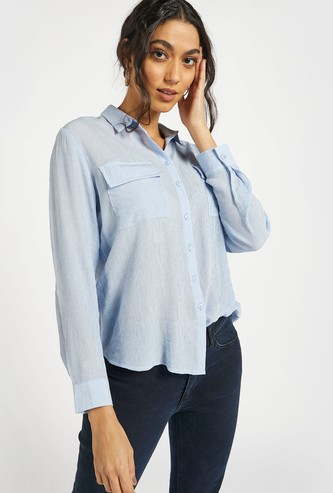 Textured Shirt with Long Sleeves and Pocket Detail
