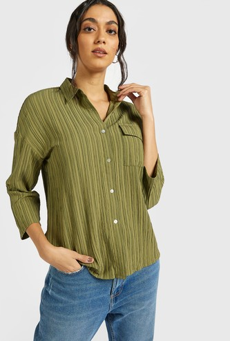 Textured Shirt with Spread Collar and Chest Pocket