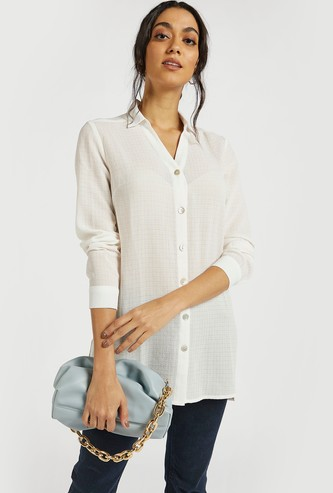Textured Longline Shirt with Buttons and Long Sleeves