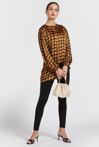 All-Over Print Longline Shirt with Mandarin Collar and Long Sleeves