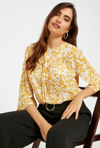 All-Over Floral Print Pintuk Blouse with Round Neck and 3/4 Sleeves