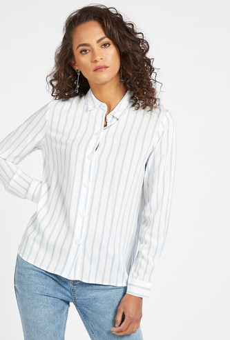 Striped Long Sleeves Shirt with Slits and Button Closure