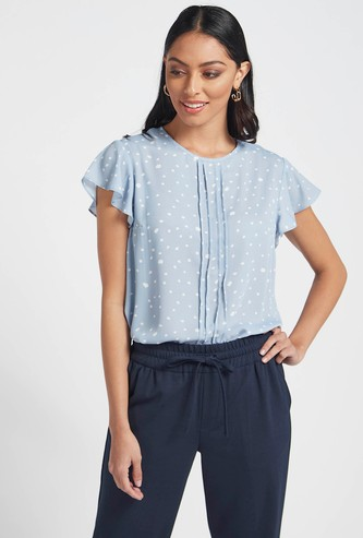 Printed Top with Pintuck Detail and Flutter Cap Sleeves