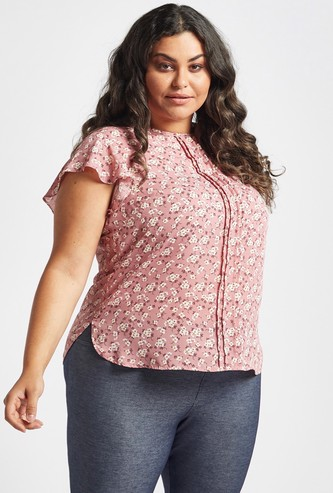 All-Over Floral Print Top with Round Neck and Flutter Sleeves