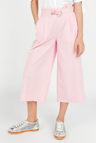Solid Culottes with Pocket Detail and Drawstring