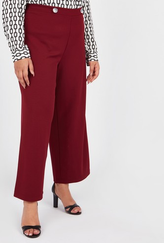 Plain Palazzo Pants with Pocket Detail