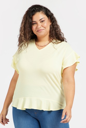 Solid Top with V-neck and Frill Hem