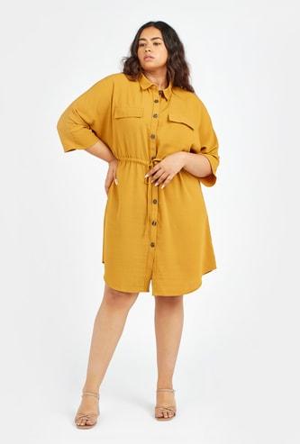 فستان قميص سادة ميدي بأكمام قصيرة ورباط