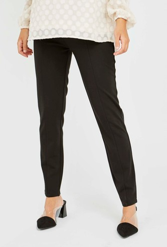 Maternity Solid Ponte Leggings with Elasticised Waistband