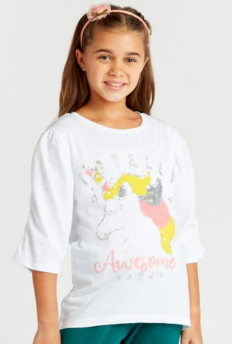Unicorn Sequin Detail T-shirt with Round Neck and 3/4 Sleeves