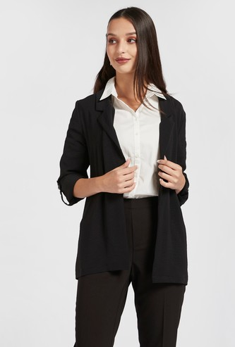 Solid Jacket with Long Sleeves and Spread Collar