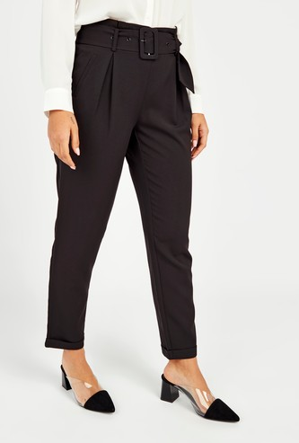 Solid High-Rise Trousers with Pocket Detail and Belt