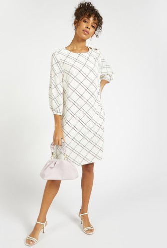 Checked Shift Dress with Round Neck and 3/4 Sleeves