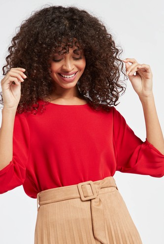 Solid Top with Button Detail and 3/4 Sleeves