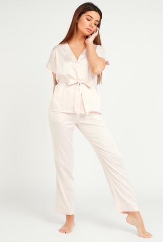 Solid Wrap Top with Tie Ups and Pyjama Set