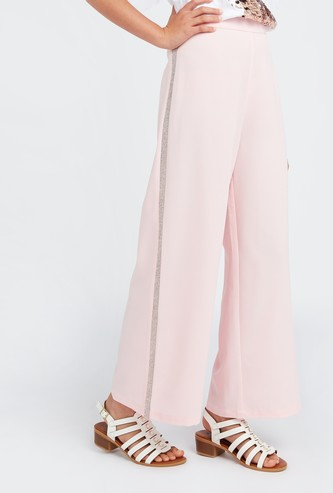 Solid Palazzo Pants with Studded Tape Detail and Elasticised Waistband