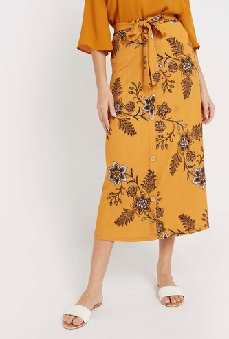 Printed Midi A-line Skirt with Tie Ups and Elasticised Waistband