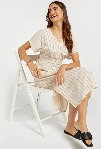 Striped A-line Midi Dress with Tie-Ups and Short Sleeves