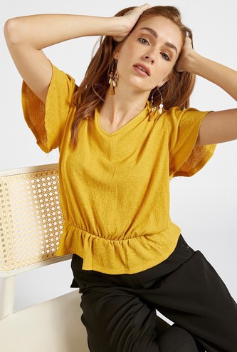 Textured V-neck Peplum Top with Short Sleeves