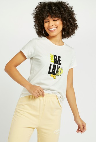 Tweety Graphic Print T-shirt with Round Neck and Cap Sleeves