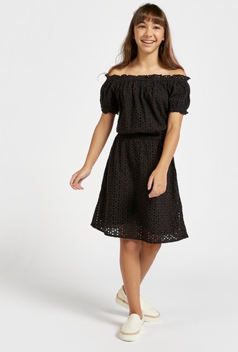 Broderie Anglaise Off Shoulder Dress with Short Sleeves