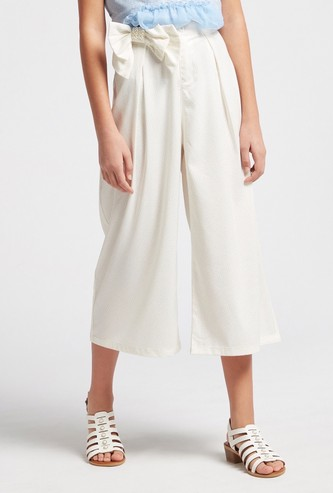Printed Culottes with Button Closure and Embellished Bow Accent