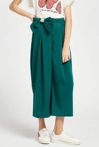 Solid Woven Culottes with Embellished Bow Accent