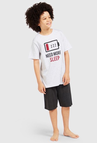 Graphic Print T-shirt and Contrast Shorts Sleep Set
