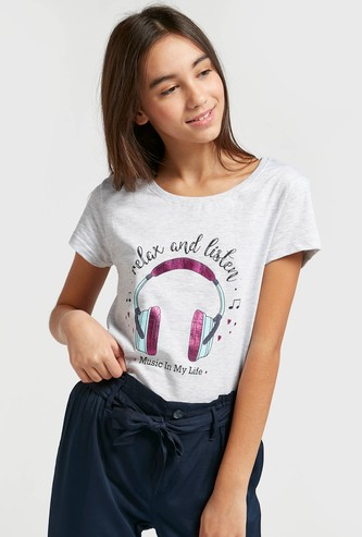 Printed Round Neck T-shirt with Cap Sleeves