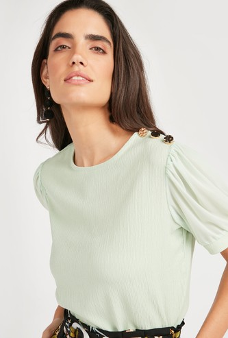 Textured Top with Round Neck and Sheer Sleeves
