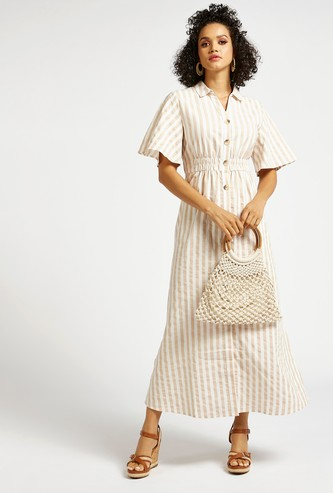 Striped Maxi Shirt Dress with Flares Sleeves and Smocking Detail