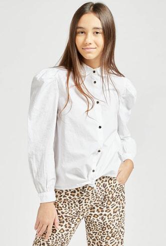 قميص سادة بياقة عادية وربطة عنق وأكمام طويلة