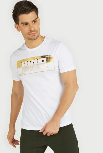 Marvel Foil Print T-shirt with Short Sleeves