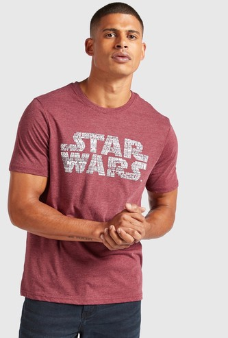 Star Wars Print T-shirt with Round Neck and Short Sleeves