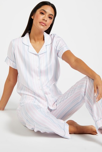Striped Short Sleeves Shirt and Full Length Pyjama Set