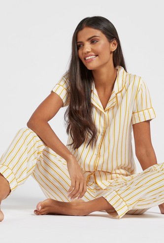 Striped Short Sleeves Sleepshirt and Pyjama Set
