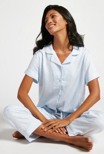 Polka Dot Print Short Sleeves Sleepshirt and Pyjama Set