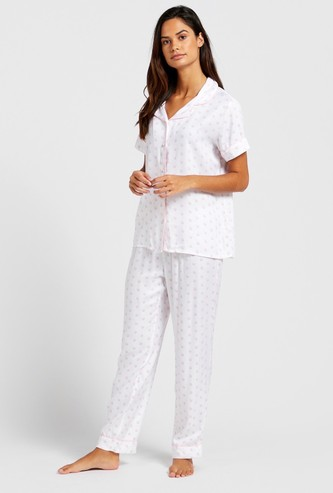 Polka Dot Print Sleepshirt and Pyjama Set