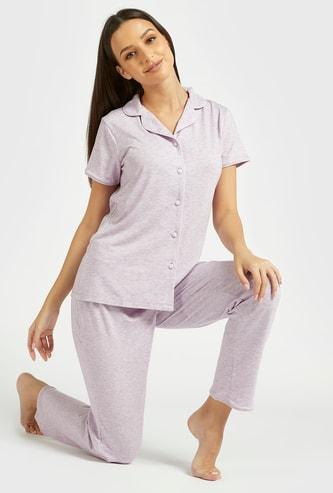 Textured Short Sleeves Sleepshirt and Pyjama Set
