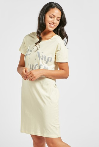 Graphic Print Sleep Dress with Round Neck and Short Sleeves