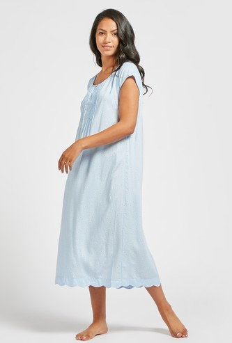 Printed Sleep Gown with Round Neck and Cap Sleeves