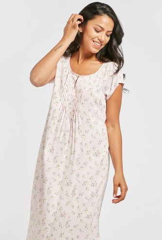 All-Over Floral Print Sleep Dress with Round Neck and Cap Sleeves