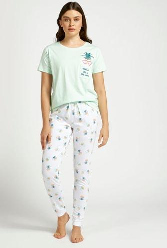 Pineapple Themed Round Neck T-shirt and Pyjama Set