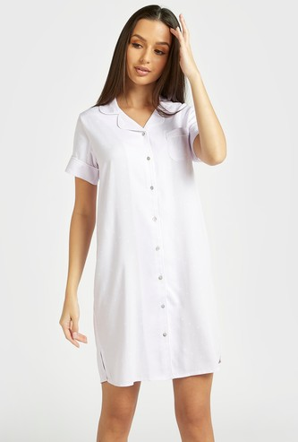 All-Over Scatter Dots Print Sleepshirt with Spread Collar and Short Sleeves